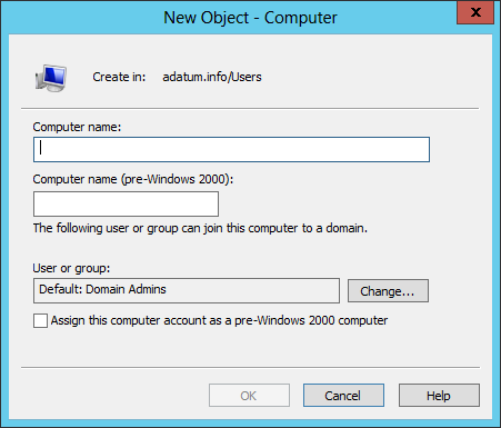 The process of creating a computer object in Active Directory Users and Computers is similar to that of creating a user object.