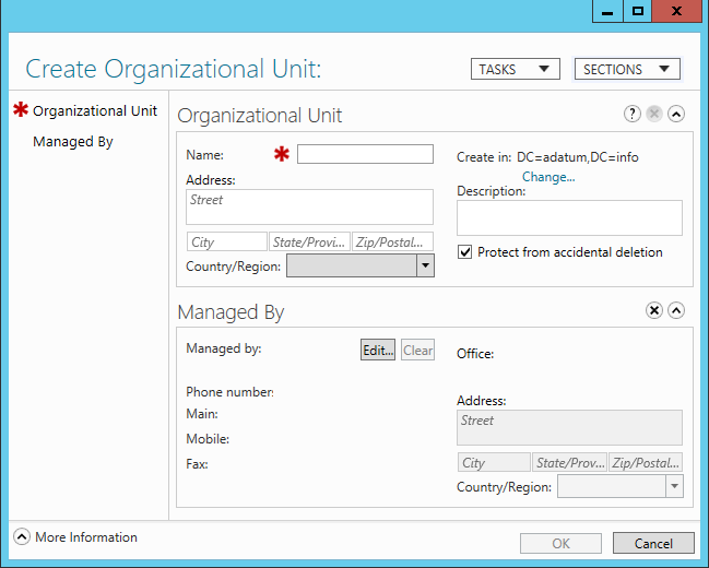 To create an OU object using the Active Directory Administrative Center, use the following procedure: 1.