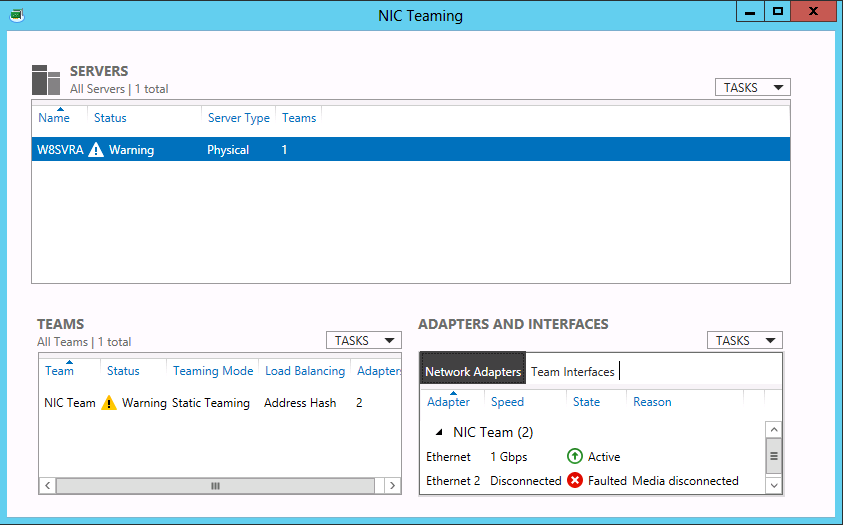 Figure 1-10 A new NIC team in the NIC Teaming window in Server Manager.