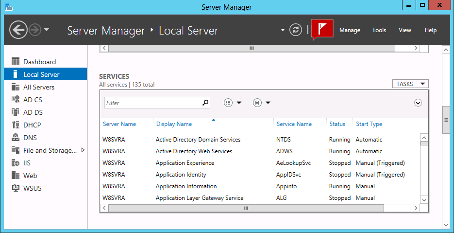 service, the shortcut menu provides controls that enable you to start, stop, restart, pause, and resume the service. Figure 1-21 The Services tile in Server Manager.