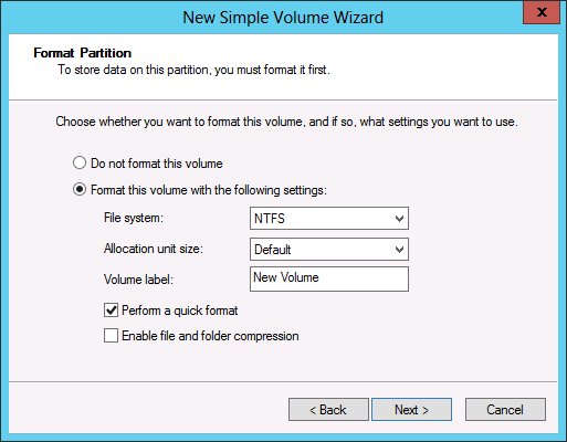 Figure 1-38 The Format Partition page. 9. Specify whether the wizard should format the volume, and if so, how.