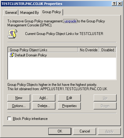 4. Choose Properties and select the Group Policy tab.