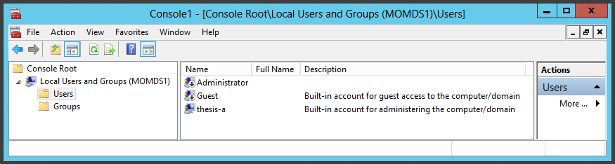 99 Figure 38: Local Users and Groups management console. Figure 38 shows a view to MOMDS1 server. Remote management is only possible with MMC application, not directly from MSC file.