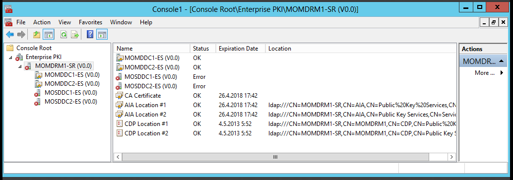 Remote management was possible inside the certificate environment. First Certificate Authority was in the test environment Standalone Root CA, it was installed to MOMDRM1 server.