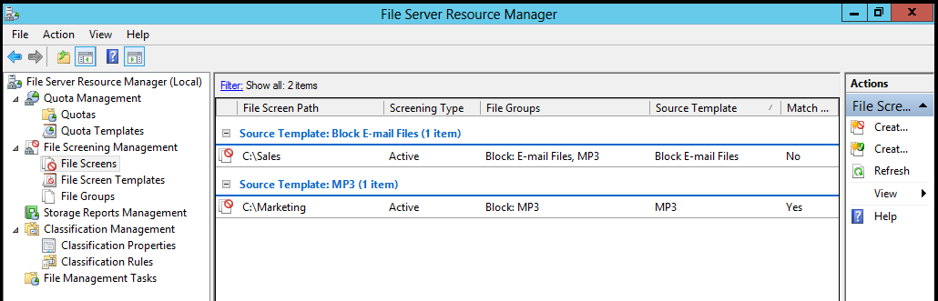 128 Figure 71: Quota and File Screening management in same console. Figure 71 shows two Quotas and two File Screens for each department folders.