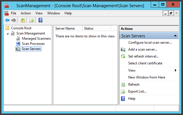 134 Figure 77: Scan Management console. Figure 77 shows basic view of console without added scan servers (MOSDS1 or BOMDS1).
