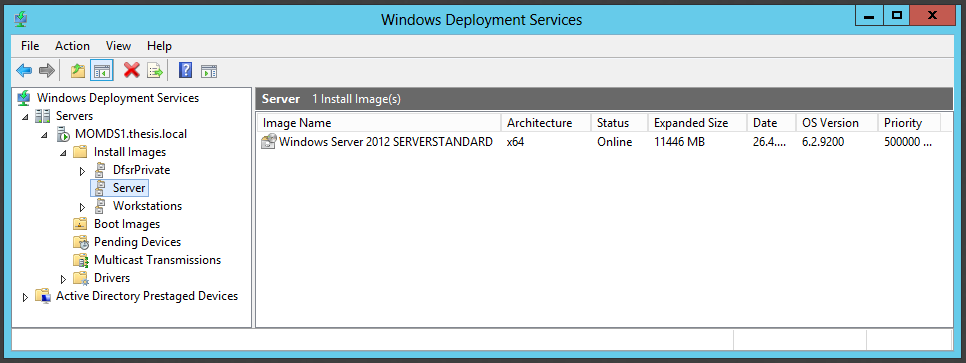 135 Figure 78: Windows Deployment Services management console.