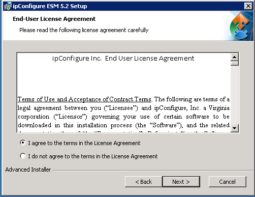 ipconfigure ESM 5.3 Install (2003/2008 Server) This document provides a detailed explanation of how to install the Enterprise Surveillance Manager (ESM 5.3) Server Software.