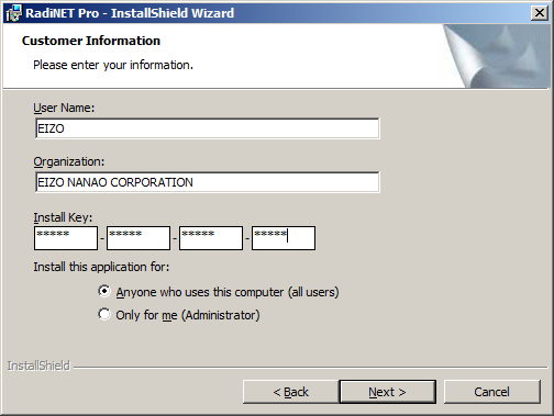 4. The RadiNET Pro - InstallShield Wizard screen appears. Click [Next]. 5. The License Agreement screen appears. Select I accept the terms in the license agreement. Click [Next]. 6.