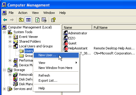3-2. Creating a User Account for RadiCS Network Upgrade Software Setup Service This section describes how to create a new user for the RadiCS Network Upgrade Software service.