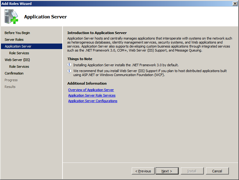 8. The Add features required for Application Server? screen appears. Click [Add Required Features]. 9.