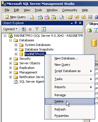 This section describes how to restore data using SQL Server 2005 administrative tool SQL Server Management Studio. The procedure is the same for both SQL Server 2008/2008 R2 and Express Edition.