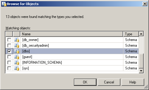 11. The Select Login screen reappears. Click [OK]. 12. The Database User - New screen reappears. Click [ ] of Default Schema:. 13.