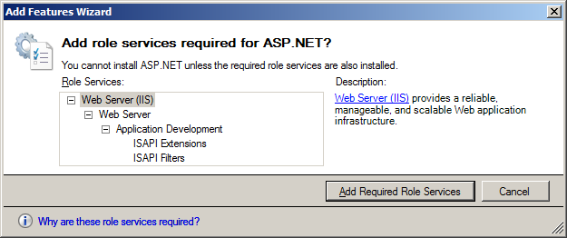 20. The Web Server (IIS) screen appears. Click [Next]. 21. The Select Role Services screen appears. Check the ASP.NET checkbox. 22.