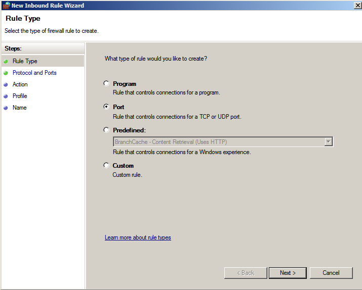 Windows Server 2008 / 2008 R2 1. Click [System and Security] - [Windows Firewall] from [Control Panel] and then click [Advanced]. 2. The Windows Firewall with Advanced Security screen appears.