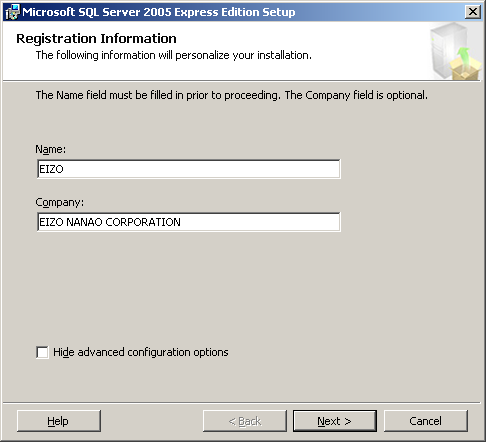 6. The System Configuration Check screen appears. Click [Next]. 7. The Registration Information screen appears.