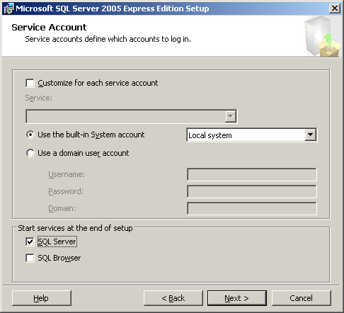 11. The Instance Name screen appears. Select Default instance and then click [Next]. 12. The Service Account screen appears. Set the following items and then click [Next].