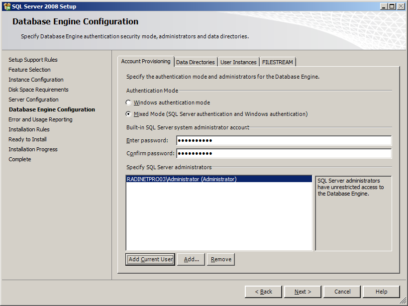 12. The Server Configuration screen appears. Set the following and then click [Next].