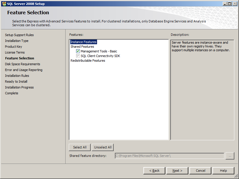 7. The Installation Type screen appears. Perform an new installation of SQL Server 2008 checkbox and then click [Next]. 8. The Product Key screen appears. Enter the product key and then click [Next].