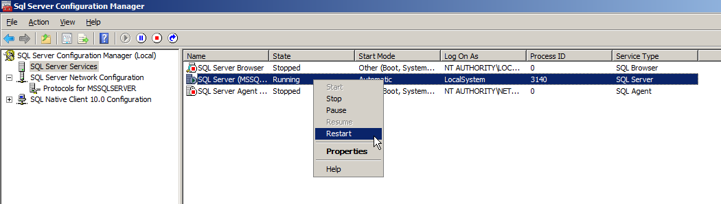 The setting of SQL Server 2008 Express Edition Procedure 1. Click [Start] [All Programs] [Microsoft SQL Server 2008] [Configuration Tools] [SQL Server Configuration Manager] in Windows. 2. The SQL Server Configuration Manager screen appears.