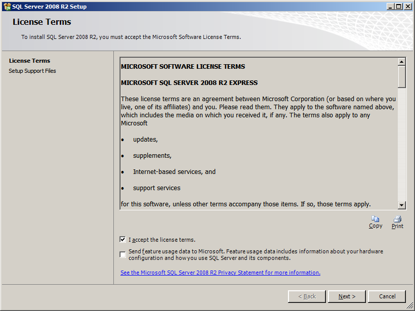 Installation of SQL Server 2008 R2 Express Edition Procedure 1. Insert the RadiNET Pro CD-ROM to the drive.