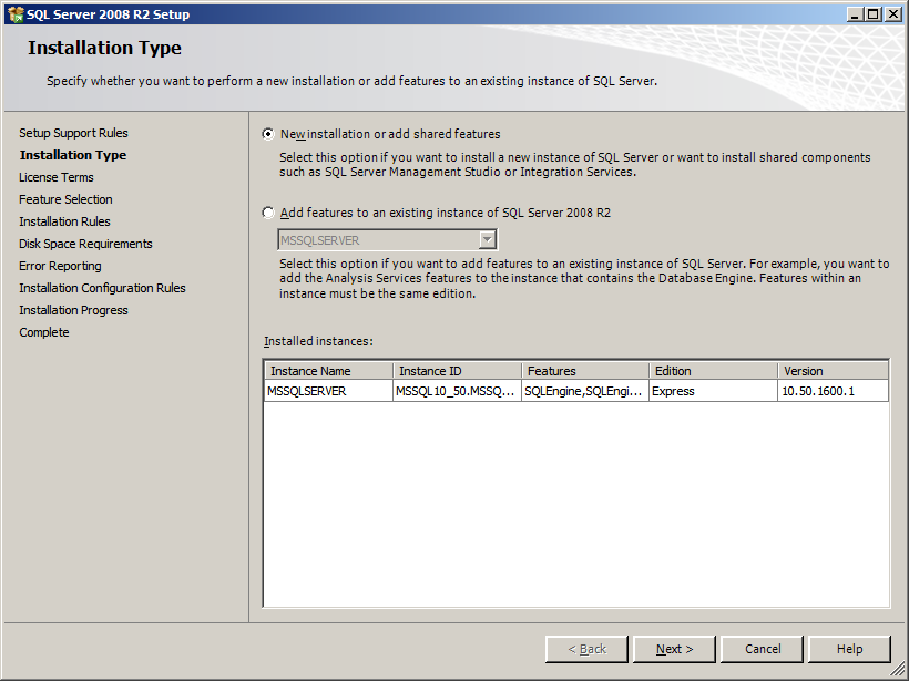 The setting of SQL Server 2008 R2 Management Studio Express Procedure 1. Download and execute SQL Server 2008 R2 Management Studio Express from Microsoft website. 2. From the right side of the screen, click New installation or add features to an existing installation.