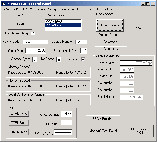 Fig. 0.103. The PCI9054 card control panel. The button SCAN starts the scanning of the the PCI bus searching for PLX s devices.