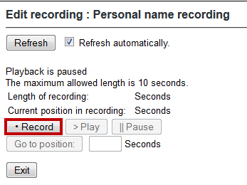 4. To create a recording from your phone, select the Record via telephone now option under the Select a Method section. Figure 34 - Select a method 5.