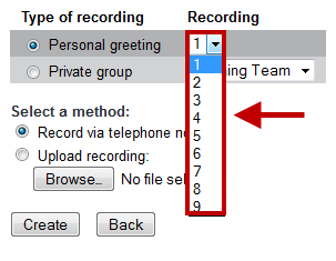 2. Select the Greeting Number that you wish to record in the Personal Greeting Dropdown. 3. Select the Personal Greeting radio button.