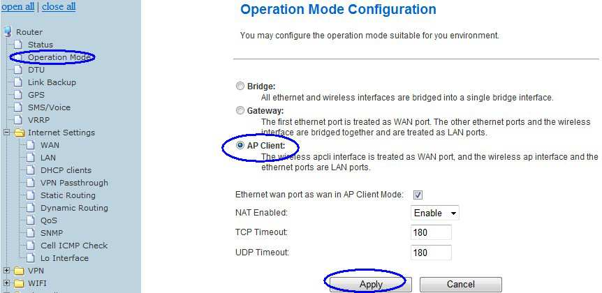 The router will switch to AP Client mode.