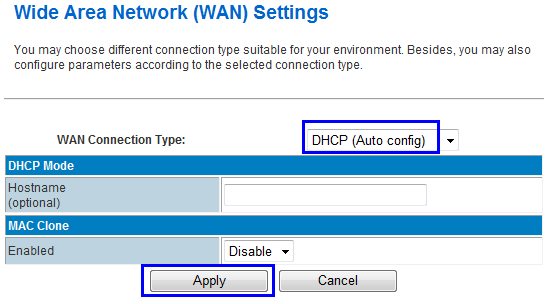 At WAN Connection Type, choose DHCP (Auto Config), and click Apply button. The RF-R586 router will automatically connect the WiFi Router and get local IP from the wifi router.