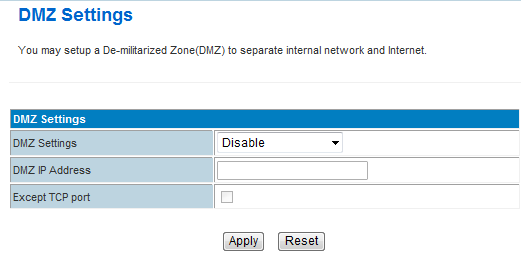 In computer networking, DMZ is a firewall configuration for securing local area networks (LANs). DMZ Settings: open and close DMZ feature.