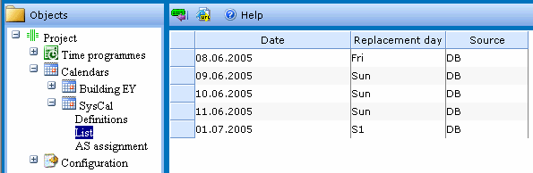 5 Time Profile ZP3600 Web Calendar 5.2 Assignment of a replacement day A replacement day can be assigned to each day of the year.