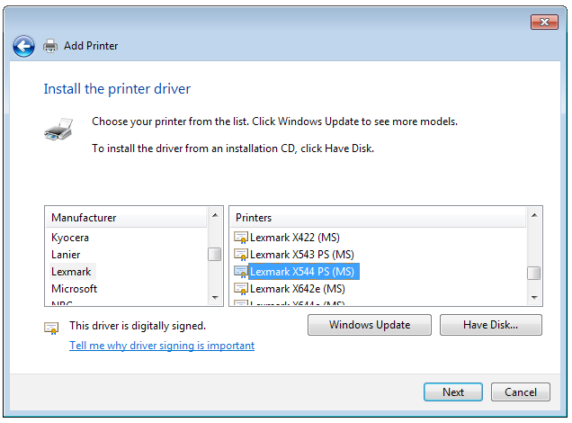 7. Click Next to finish setting up the standard TCP/IP port. 8. Install the printer driver from the vendor-model list.