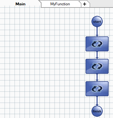 Page 53 of 84 Image 57. MyFunction diagram In order to go back to the main diagram, click on Main tab. There the MyFunction function can be called ( Flowchart Control Call Function ).