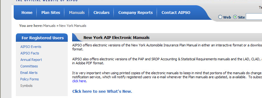 manual page, click on New York