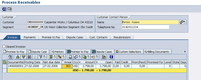 Process Receivables Invoices (Open) On the Invoices tab page the collection specialist gets an overview of all open invoices of a customer in