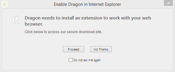 Chapter 8: Working with Web applications Installing and enabling the Dragon Web Extension To enable The Dragon Web Extension, do the following. If you need to re-install, see here.
