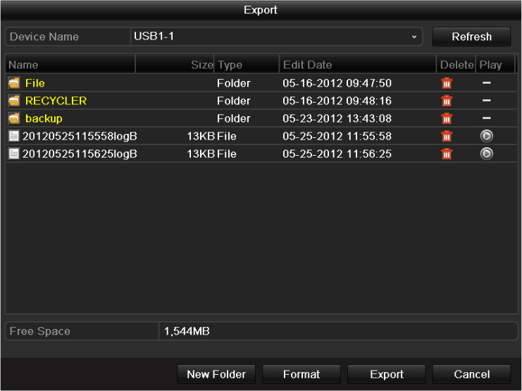 6. If you want to export the log files, click the Export button to enter the Export menu. You can also export all the log files stored in the HDD. (1) Enter the Log Export interface.