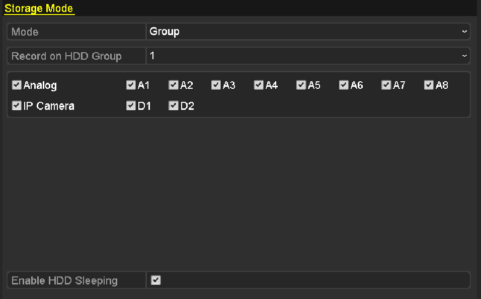5.8 Configuring HDD Group for Record Purpose: You can group the HDDs and save the record files in certain HDD group. 1. Enter HDD setting interface. Menu>HDD Figure 5. 34 HDD-General 2.