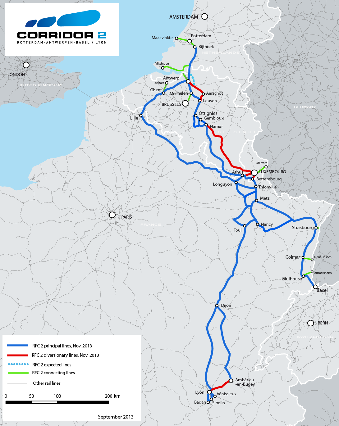 The RFC 2 routes will be established in three phases. The first phase concerns the routes which will compose the corridor in November 2013. They are shown on map 1.
