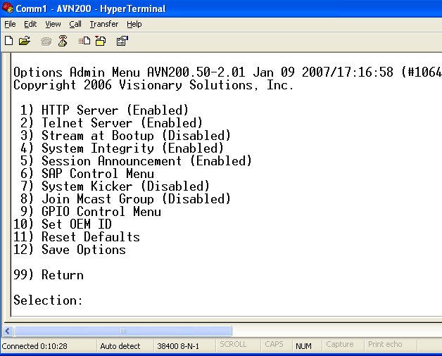 AVN200 User s Manual Chapter 6 Using the Console Menus 6.5 Options Admin Menu 1) HTTP Server enables and disables HTTP server. 2) Telnet Server enables and disables TelnetServer.