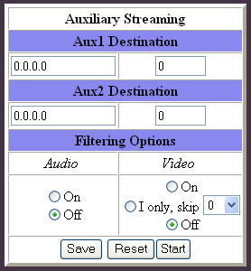 AVN200 User s Manual Chapter 7 Using the Browser Interface 7.7 Auxiliary Stream Page This page allows the AVN200 to send an auxiliary stream to one or two separate destinations.