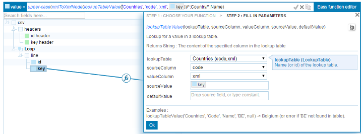 Figure 4.86. Xml in lookup table You can use a the 'Create data import channel' button of your lookup table to help you importing your data. Take a look at the xmlnodetoxml function.