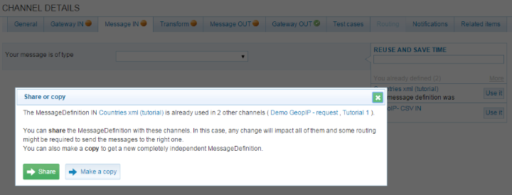Figure 4.157. Reuse - element duplicated. If you are in the ChannelDetail screen, and it is the first time you use this element, the element will just be assigned to the channel. Figure 4.