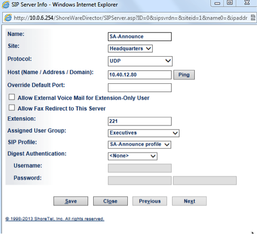 34 5.2.3 SA-Announce ShoreTel User Guide SIP Servers Next, users must configure settings for SIP Servers. 1. 2. 3.