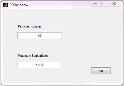 APPENDIX C. USER MANUAL Figure C.35: Select Nelder-Mead properties Figure C.36: Select PSO properties If PSO parallel is selected Figure C.36 appears.