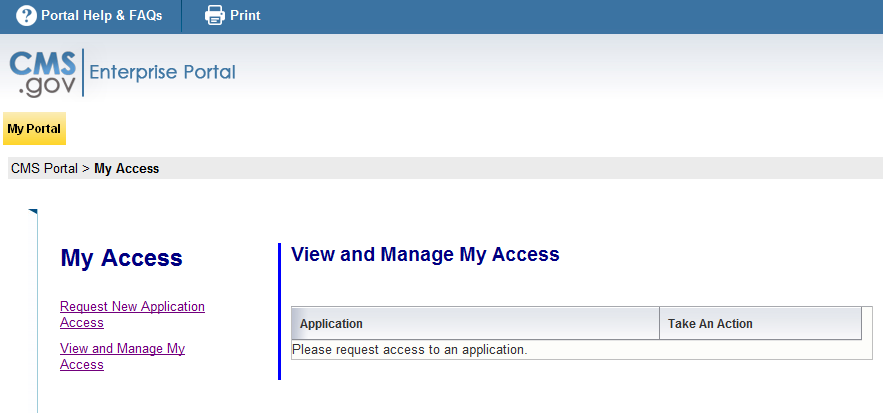 8. Click Request New Application Access on the left side of the screen. 9.