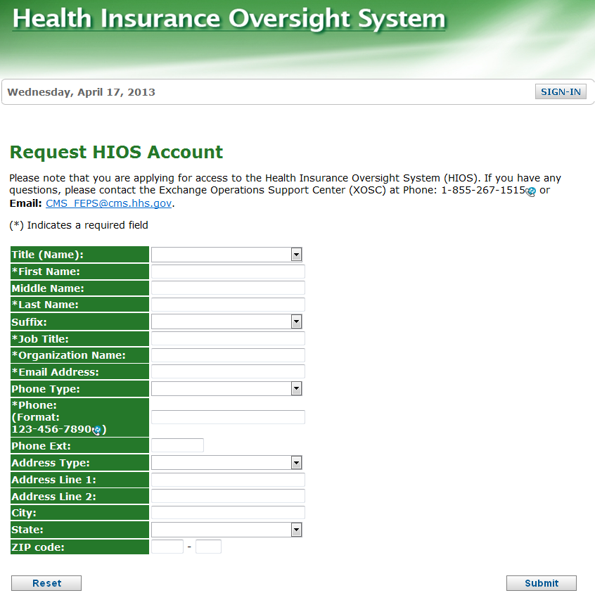 11. Complete the Request HIOS Account form and click Submit. 12.