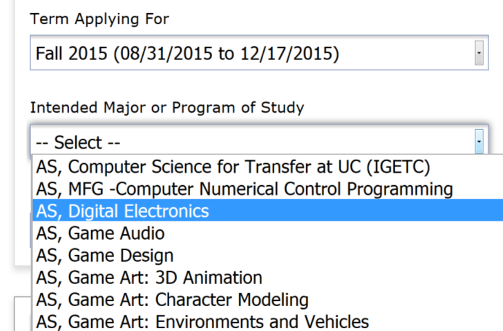 Intended Major of Program of Study: Digital Electronics Educational Goal: Advance